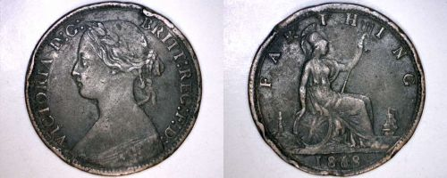 1868 Great Britain 1 Farthing World Coin - UK - England
