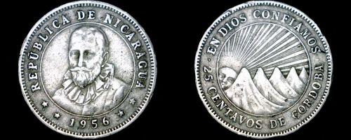 1956 Nicaragua 25 Centavo World Coin