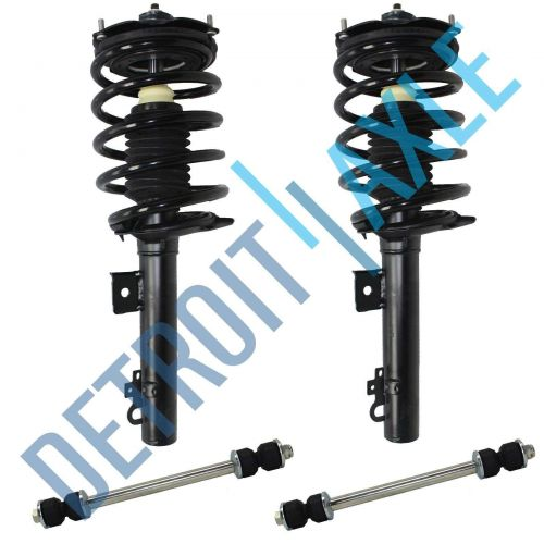4PC Set: Pair of 2 NEW Rear Complete Ready Strut Assembly + 2 NEW Sway Bar Links