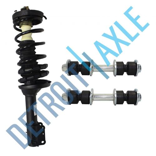 NEW 1 Rear Complete Ready Strut Assembly + Pair of 2 Sway Bar Links Set Kit