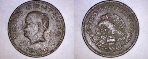 1954-Mo Mexican 5 Centavo World Coin - Mexico