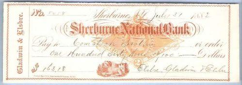 New York Shelburne Cancelled Check Shelburne National Bank Check #5458 Dat~1