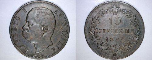 1894-B/I Italian 10 Centesimi World Coin - Italy