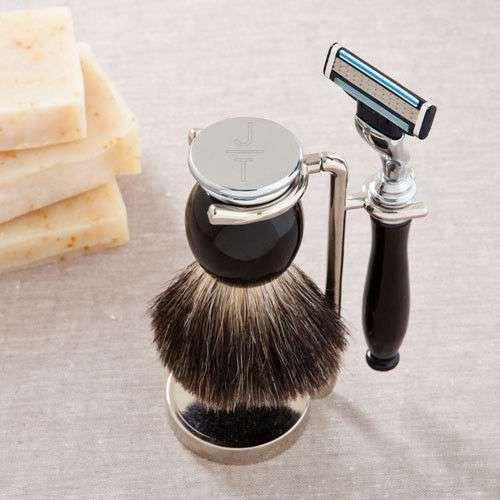 Modern or Monogram Badger Hair Brush and Razor Shaving Set-Free Personalization