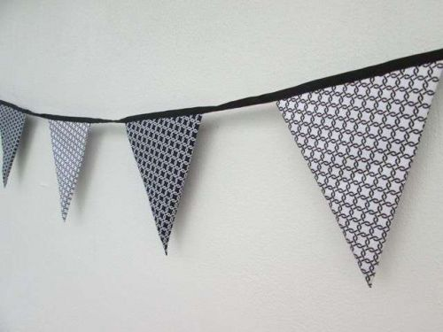 Black & White Gotcha Celtic Fabric Bunting Double Sided Banner by 100 cm 39 inch