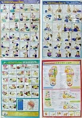 THAI MASSAGE INSTRUCTIONAL SET 1,2,3 + 1 FOOT CHART SEALED PLASTIC X 4 SHEETS