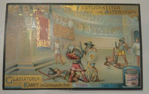Advertise Liebig Co-Card / Gladiator Scene Late 1800's / Vintage-Good+ Condition