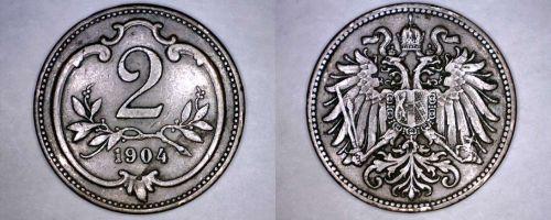 1904 Austrian 2 Heller World Coin - Austria