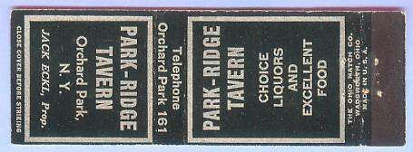 New York Orchard Park Matchcover Advertising Park Ridge Tavern Orchard Par~171
