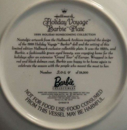 Holiday Voyage HALLMARK BARBIE Plate 1998-Collectable *Good Condition*