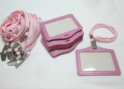 60 ID Case Card Badge Holder Pink Faux Leather Horizontal Neck Strap Metal Clips