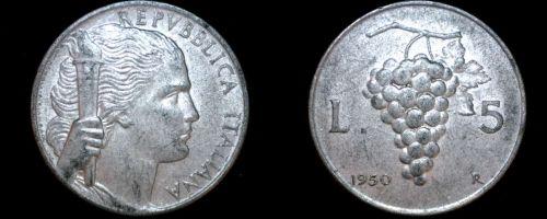 1950 Italian 5 Lire World Coin - Italy - Grapes