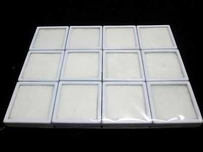 12 pcs New Gem Tool Display Boxes Square White Box With Lids Top Glass 6x6x2 cm