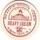 New York North Troy Milk Bottle Cap Name/Subject: Meadow Brook Farm Heavy ~410