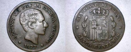 1877 Spanish 5 Centimos World Coin - Spain