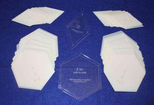 "Mylar 4"" Hexagon Side to Side - 4"" Diamond-60 Degrees 102 Piece Set -Template-"