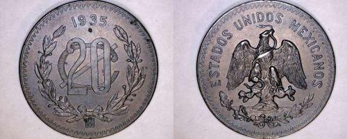 1935 Mexican 20 Centavo World Coin - Mexico