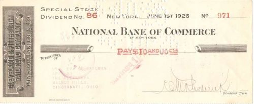 New York New York Cancelled Check National Bank Of Commerce Check #971 Dat~84