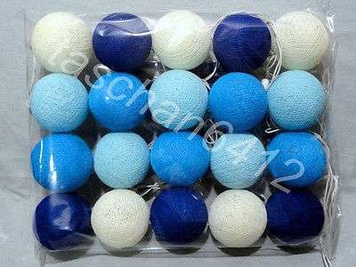1 SET OF 20 BLUE WHITE COTTON BALL STRING LIGHTS HANDMADE FOR DECORATIONS