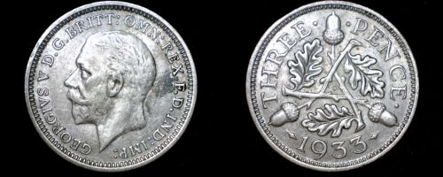 1933 Great Britain 3 Pence World Silver Coin - UK