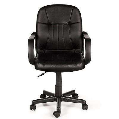 Black Leather Midback Adjustable Home Office Study Computer Chair Dorm Armchair