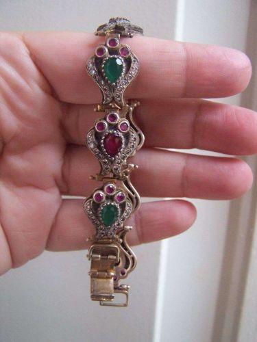 """Vintage Turkish Sterling Ruby Emerald Bracelet 7.5""""- 31 grams WEDDING GIFT"""