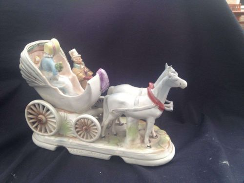 antique German porcelain. Grafenthal carriage . Marked with RED mark
