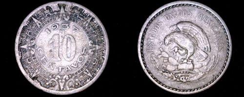 1937-M Mexican 10 Centavo World Coin - Mexico