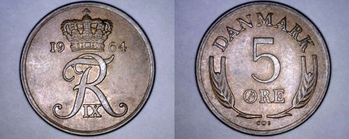1964 Danish 5 Ore World Coin - Denmark
