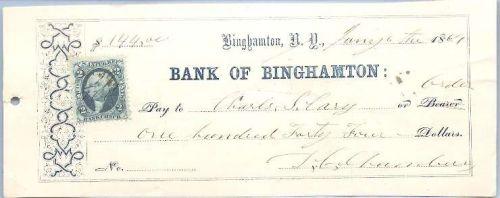 New York Binghamton Cancelled Check Bank Of Binghamton Check # Dated: Janu~45