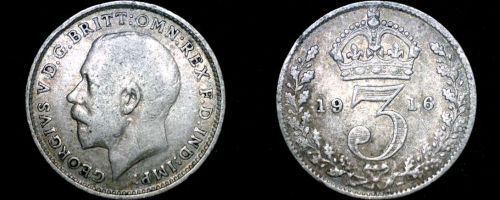 1916 Great Britain 3 Pence World Silver Coin - UK
