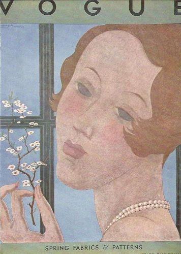 Vogue 1930 Cover Print Spring Fabrics by Lepape Art Deco 1984 original print