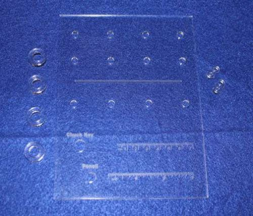 """Laser Cut Bit Storage Template - All 1/4"""" Holes Acrylic - 1/8"""" Thick -Imperial"""