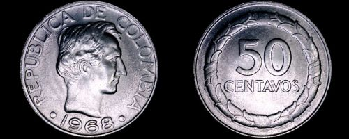 1968 Colombian 50 Centavo World Coin - Colombia