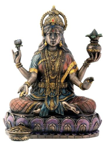 Bronze Hindu Goddess Statue Home Decor Blessings Crafted Resin Nice Piece Gift