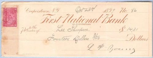 New York Cooperstown Cancelled Check First National Bank of Cooperstown Ch~21