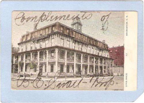 New York Binghamton Lewis House Street Scene w/Compliments Of B E Small Pr~548