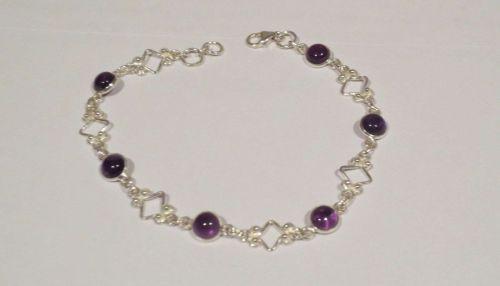 New Amethyst Filigree Sterling Silver Bracelet Handmade Boho Chain Feminine