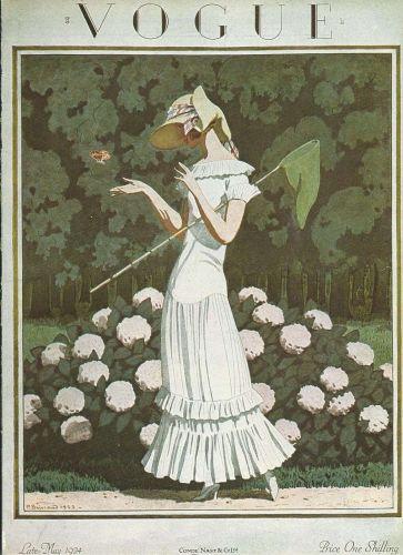 Vogue 1924 Cover Print Butterfly Net by Brissaud Art Deco 1984 original print