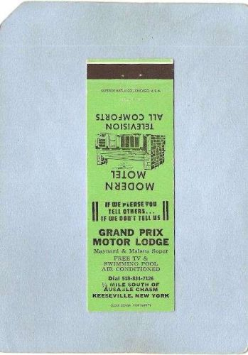 New York Keeseville Matchcover Grand Prix Motor Lodge 1/2 Mile South Of Au~1372