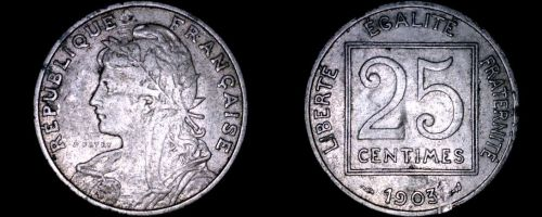 1903 French 25 Centimes World Coin - France