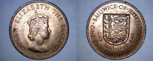 1960 Jersey 1/12 Shilling World Coin - 300th Anniversary Charles II