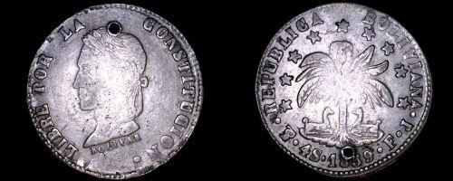1859-PTS FJ Bolivian 4 Soles World Silver Coin - Bolivia - Holed