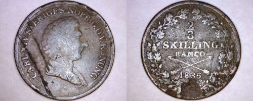 1836 Swedish 2/3 Skilling World Coin - Sweden