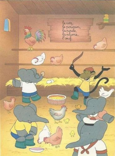 Babar The Elephant Farm Chickens Poultry Hen Monkey Kids Art 1993 French print