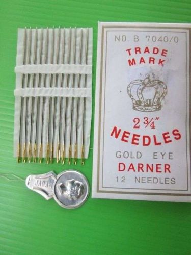 Darner 2.75 inch 6.5 cm Lot 12 Big Needles For Upholstery Fabric +Threader JAPAN