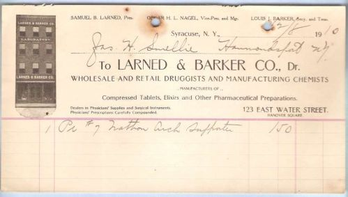 New York Syracuse Letterhead / Billhead Larned & Barker Co., Dr. 123 East ~63