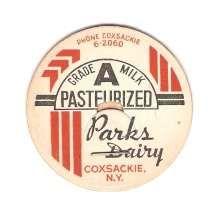 New York Coxsackie Milk Bottle Cap Name/Subject: Parks Dairy Grade A Milk ~420