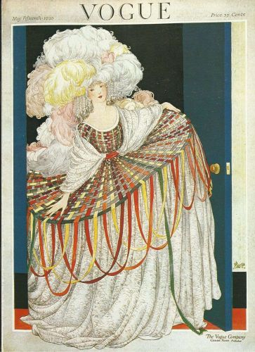 Vogue 1920 Cover Print Man Lady Feather Plumes Art Deco 1984 original print