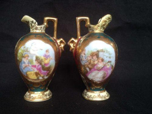 Antique pair ROYAL VIENNA Dollhouse Miniature Porcelain Portrait Ewer Pitcher